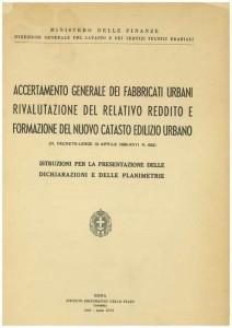Copertina dell'Istruzione per la redazione delle planimetrie catastali - Ministero delle Finanze 1939
